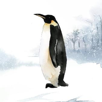 Императорский пингвин в снежном акварельном векторе