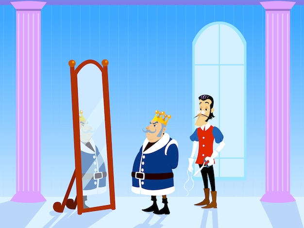 The emperor's new clothes tale. king and tailor in saloon of the palace