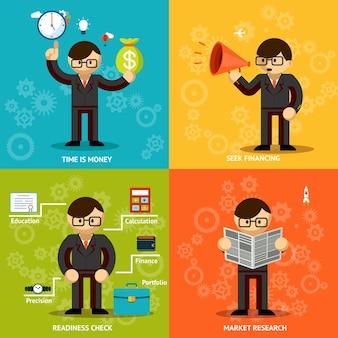 비즈니스 강조. 시간과 돈. 모금 및 연구