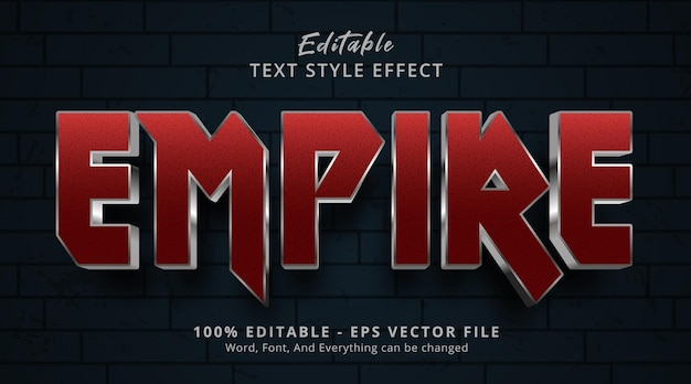 Empire text on cinema gradient style effect, editable text effect