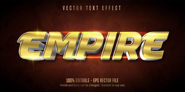 Текст в стиле ампир, эффект редактируемого текста в блестящем золотом и серебряном стиле