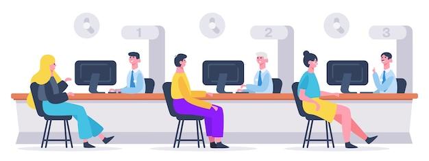 Сотрудник-аналитик, консультирующий людей в офисе