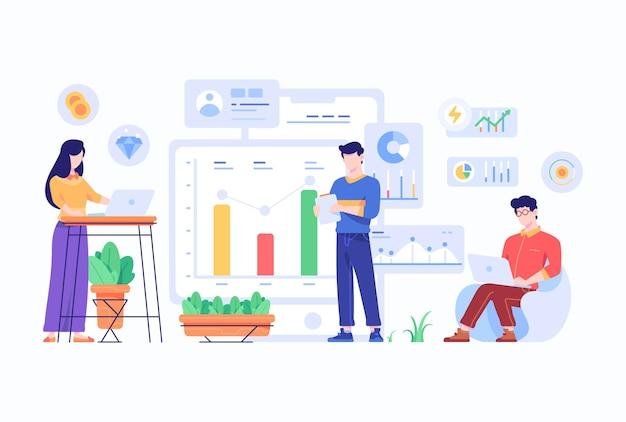 従業員の分析とブレーンストーミング会社チャートデータ情報コンセプトフラットスタイルデザインイラスト