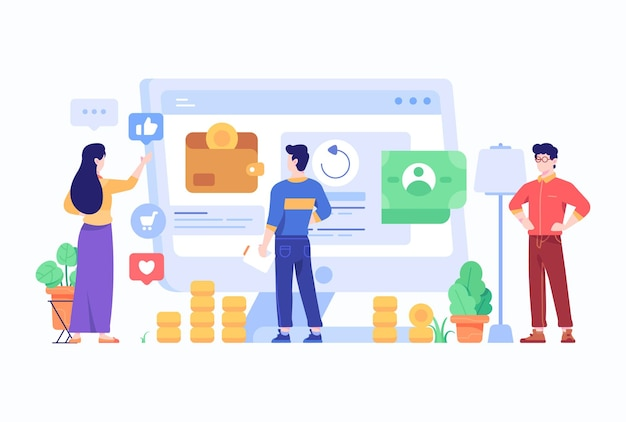 Employee analyze data on computer screen concept