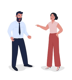 Employee arguing with boss semi flat color vector characters