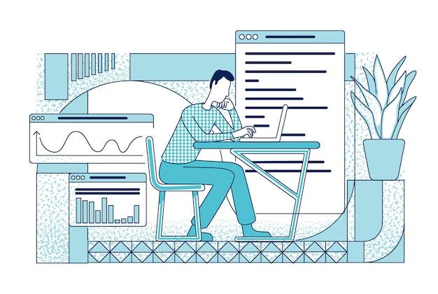 職場のシルエットの従業員。アナリストは、白い背景に年次財務報告書のアウトライン文字を書いています。マーケティング分析部門の労働者のシンプルなスタイルの図面