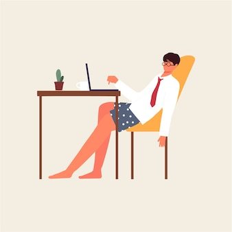 Employee bored and tired working from home illustration