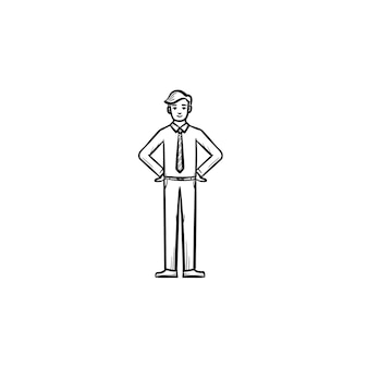 従業員のビジネスマンの手描きのアウトライン落書きベクトルアイコン。白い背景で隔離の印刷物、ウェブ、モバイル、インフォグラフィックの従業員スケッチイラスト。