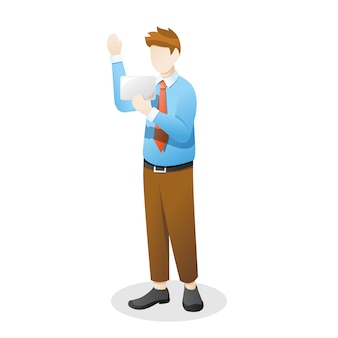 Employee or a businessman waving hand and holding something goods