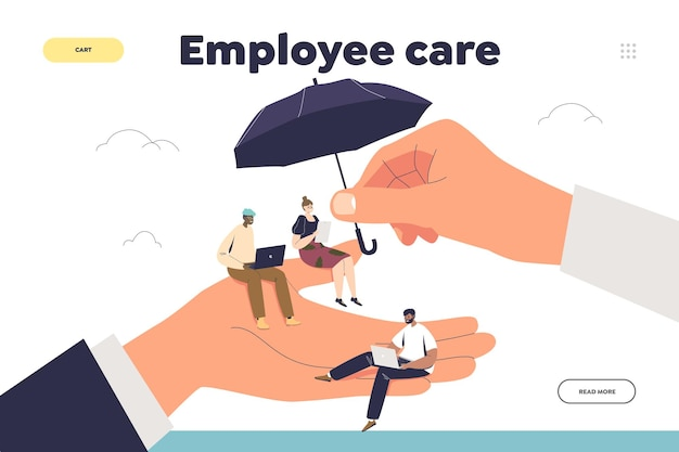 Employee care concept of landing page with tiny workers at giant hand of employer