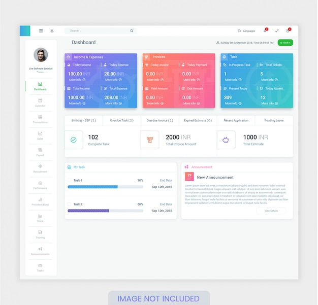 Employee dashboard design template for ui ux design premium