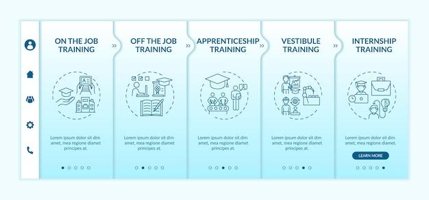 Employee development methods onboarding  template. apprenticeship, vestibule training. remote courses. responsive mobile website with icons. webpage walkthrough step screens.