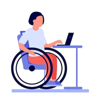 Employee disabled woman on wheelchair work online on laptop.