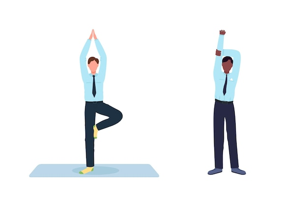 Employee exercising during work break flat color faceless character set. workplace at workstation isolated cartoon illustration