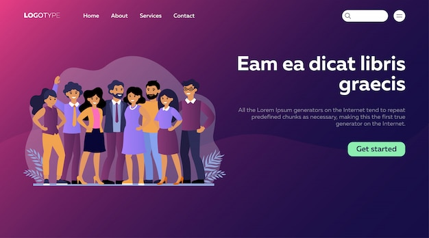 Employee group portrait flat illustration. landing page or web template
