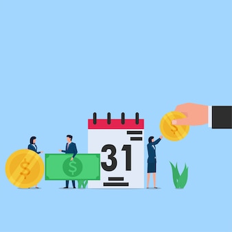 Employee happy for salary payment at the end of the month. business flat concept illustration.