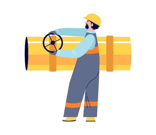 Employee in helmet and uniform of oil refinery turns valve on large pipe vector flat cartoon illustr...