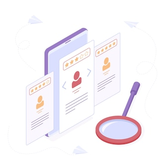 Employee hiring or searching of suitable candidate isometric concept.