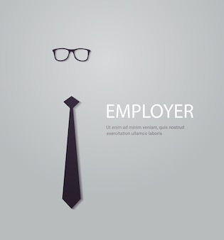Employee hiring and staff recruitment poster with tie and glasses new employee search advertisement concept copy space vector illustration