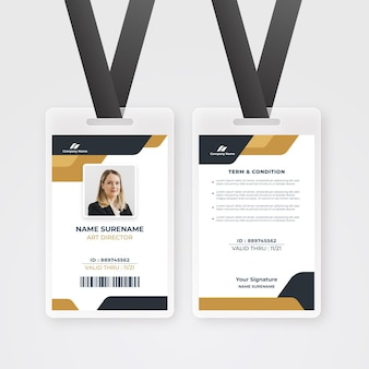 Employee id card template with minimal shapes