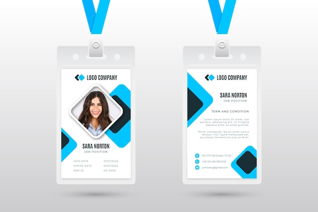Employee id card template with photo