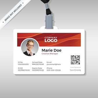 Employee id card with shiny red wave background