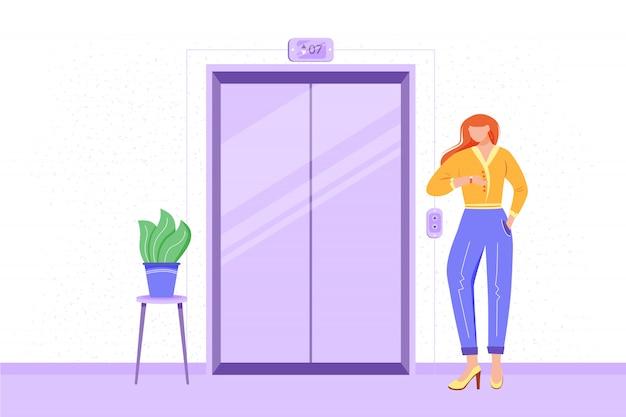 Работник в офис зал иллюстрации. сотрудник ждет лифта. интерьер офисного коридора. рабочий собирается на встречу. кандидат направляется на собеседование. предприниматель мультипликационный персонаж