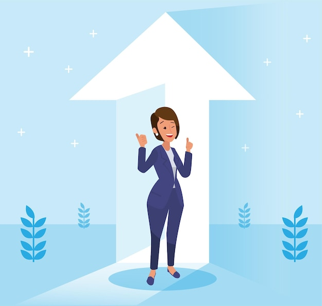 Сотрудник в костюме. бизнес-концепция с иконами. мультфильм красивый успешный женский персонаж. портрет в полный рост. плоский дизайн векторные иллюстрации.