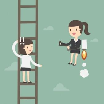 Employee in a ladder