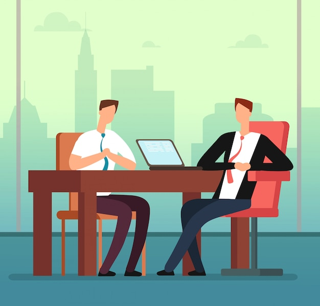 Employee man and interviewer boss meeting in office.
