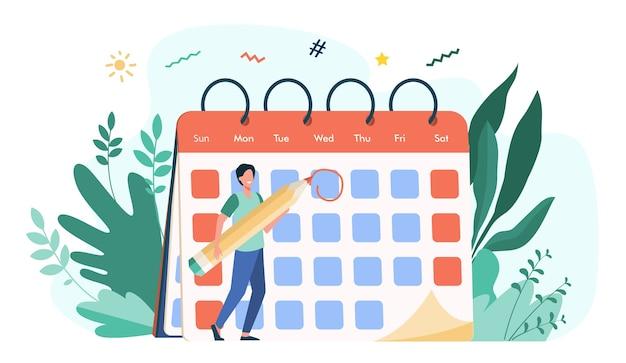 従業員が締め切り日をマークします。イベントの日付を指定し、カレンダーにメモを作る鉛筆を持つ男。スケジュール、議題、時間管理のベクトル図
