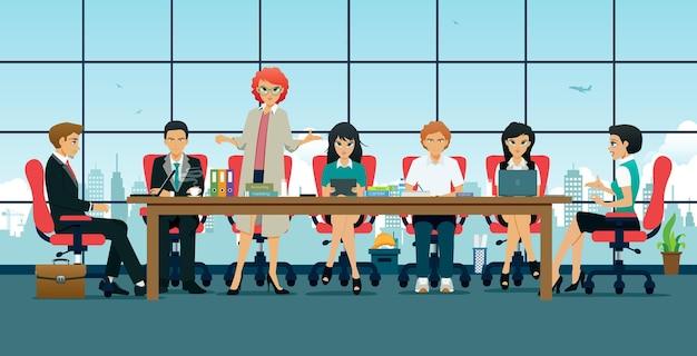 회사의 여러 부서에서 직원 회의.