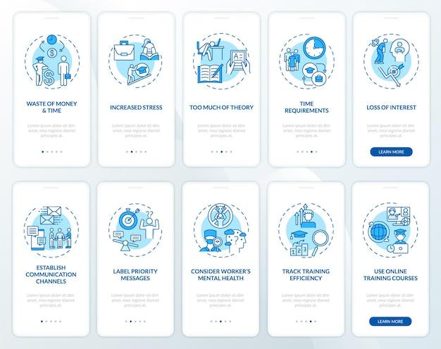 개념이 설정된 직원 멘토링 및 온 보딩 모바일 앱 페이지 화면 개발