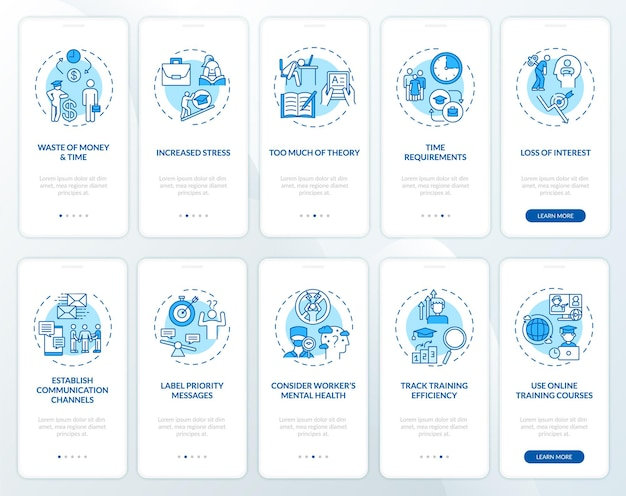 Employee mentoring and developing onboarding mobile app page screen with concepts set