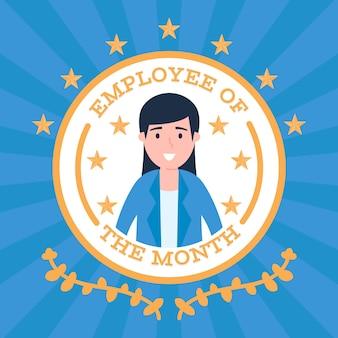 Dipendente del mese in un badge