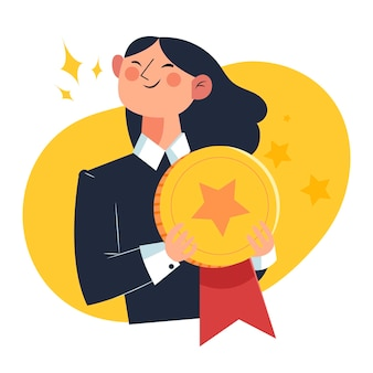 Employee of the month concept golden medal