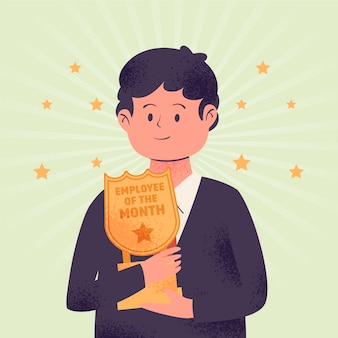 Employee of the month concept with man holding trophy