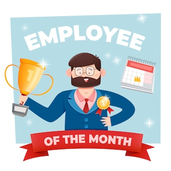 Employee of the month concept with prizes