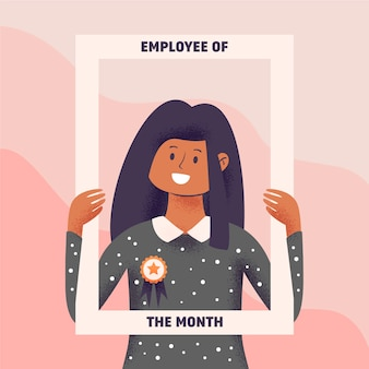Employee of the month concept with woman holding frame