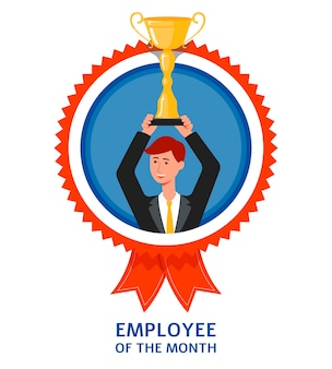 Employee of the month emblem or mark with businessman lifting gold trophy cup in hands. prize for success   illustration  on white background.