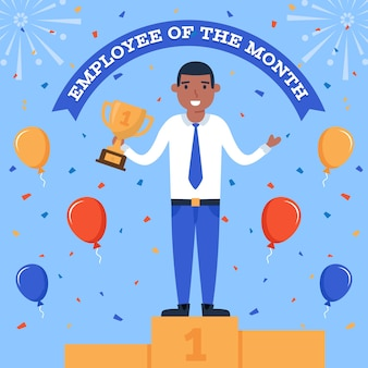Employee of the month with balloons and confetti