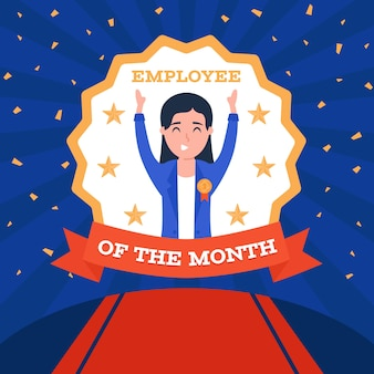 Employee of the month with red ribbon