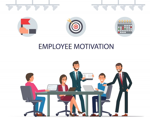 Employee motivation. smilling workers teamwork.