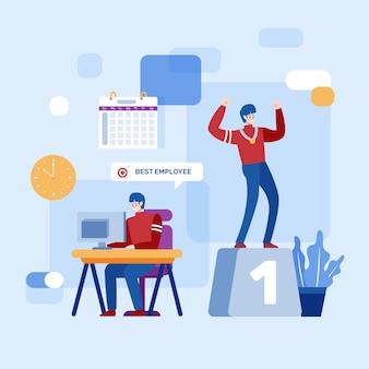 Работник месяца дизайн иллюстрации