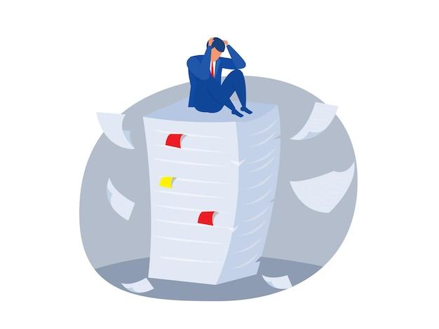 Сотрудник поверх большой стопки бумаг. плоский рисунок