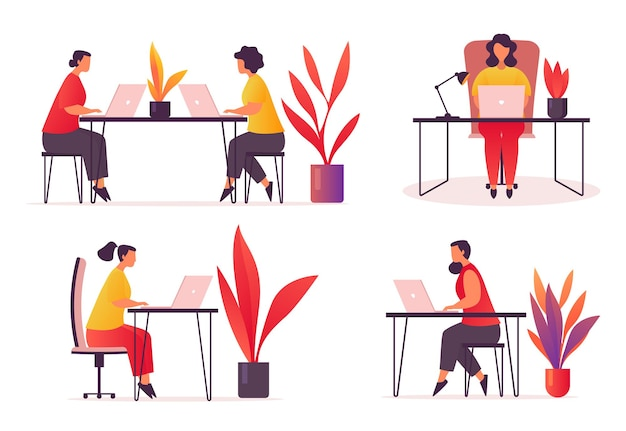 사무실 또는 작업 공간의 직원 또는 작업자