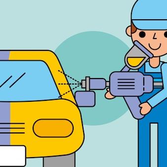 Employee painting machine car service