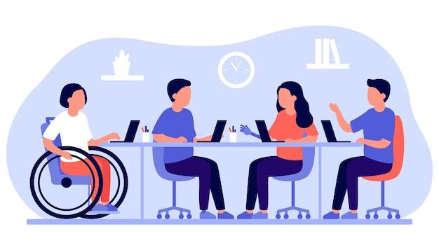 Сотрудники с ограниченными возможностями и инклюзией работают вместе в офисе.