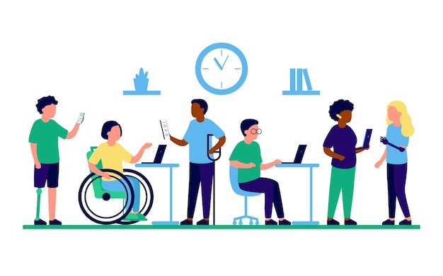 Employee people with disabilities and inclusion work in office disabled different people