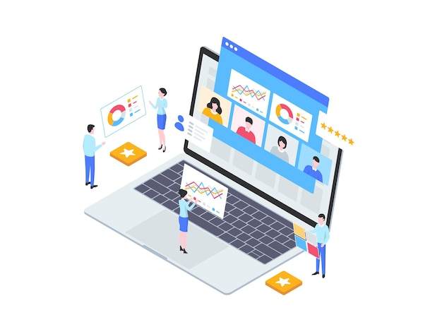 従業員のパフォーマンスアイソメ図。モバイルアプリ、ウェブサイト、バナー、図、インフォグラフィック、その他のグラフィックアセットに適しています。